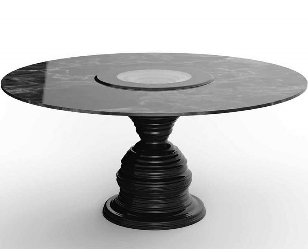 Frames Art. T12, Round table with black marquinia marble top