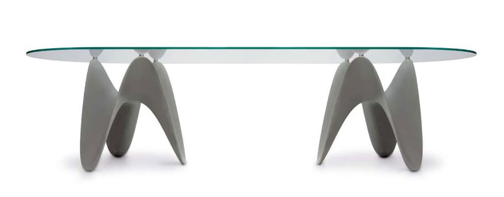 GAYA, Fixed table, with glass or ceramic top
