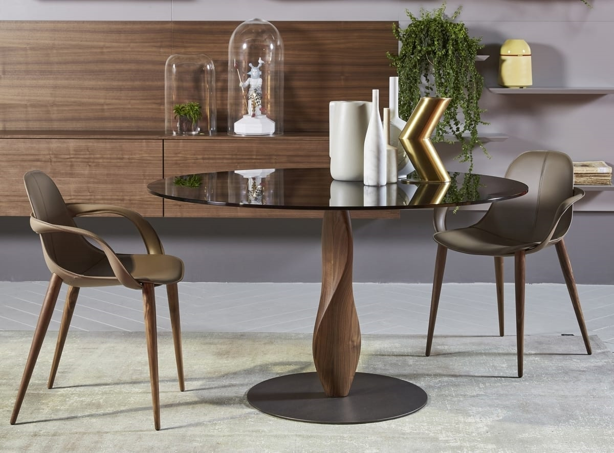 GENESIS, Elegant round table, with glass top