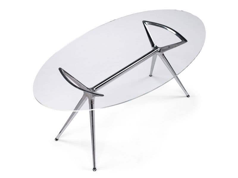 Metropolis 100x180cm, Design metal table with glass oval top