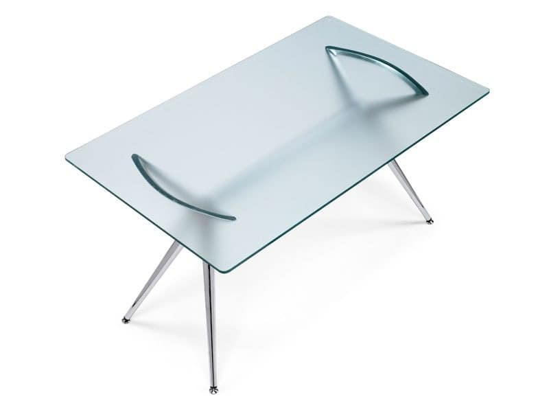 Metropolis 160x90 cm, Rectangular table, metal structure and glass top