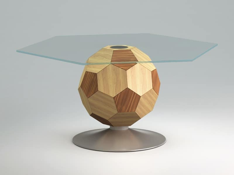 Mundial top, Tavolno to center room, glass, wooden frame
