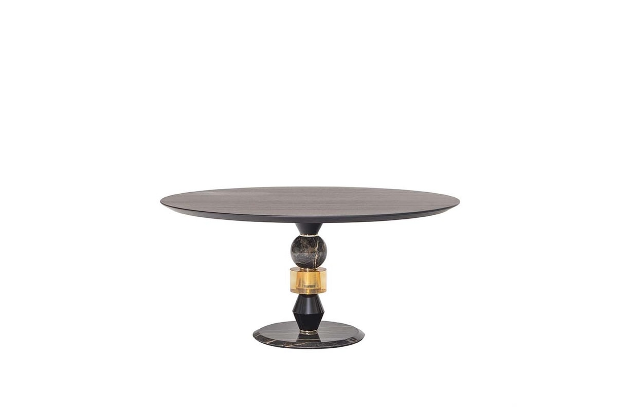 PANDORA TABLE, Table with multi-material structure and wooden top