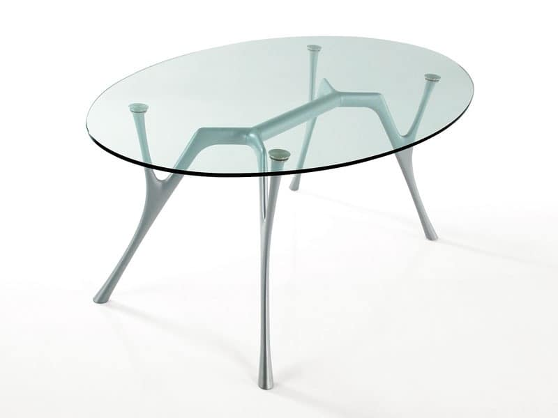 Pegaso, Oval table in aluminum with glass top for living rooms