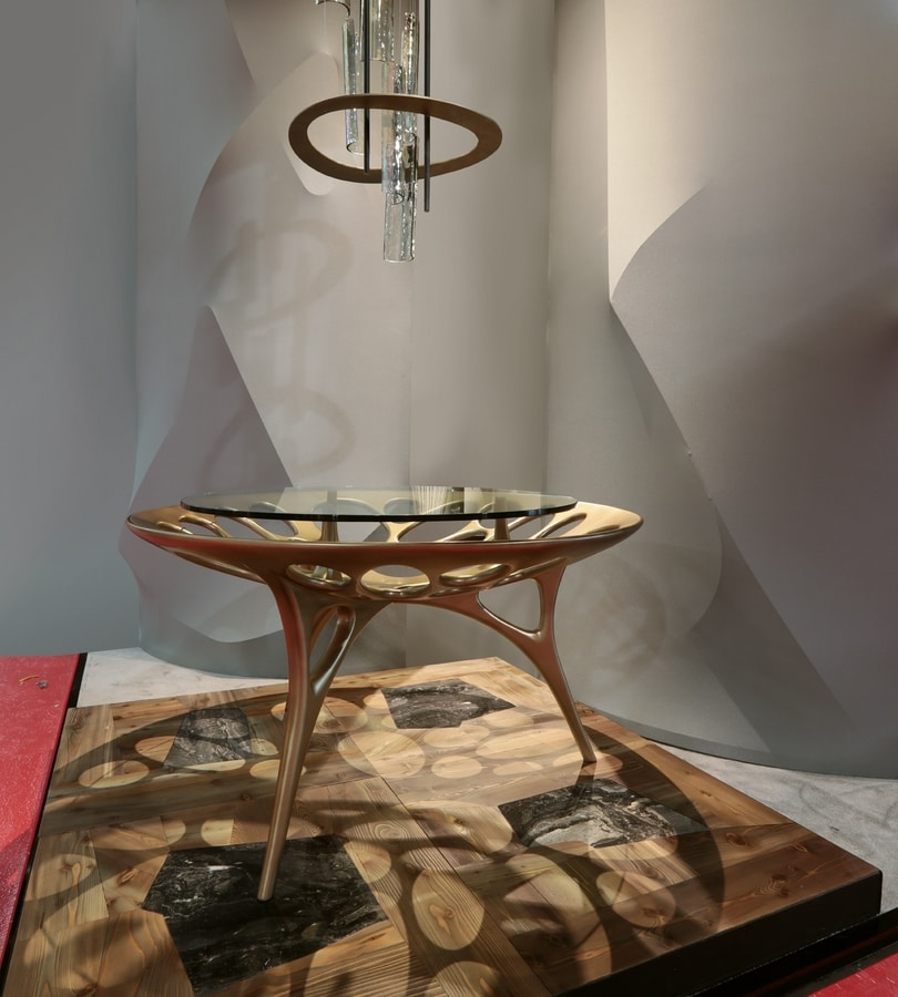 PEGASO Table, Table with base in pierced solid wood