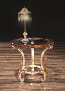 POISSY lamp table 8681T, Lamp table, with round glass top, for sitting room