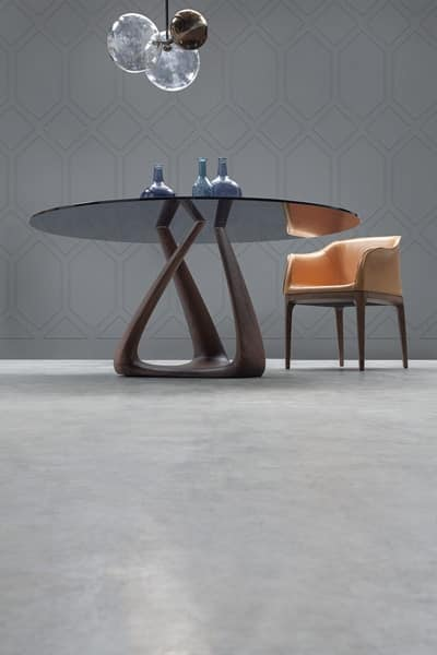 RIZOMA, Design table with glass top, walnut structure
