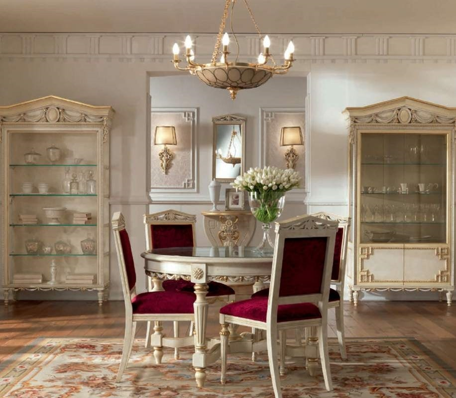 San Pietroburgo Art. TAV02/DIAM.122, Classic style table with round crystal top