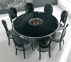 SENSUAL, Shiny black lacquered table, with silver leaf details