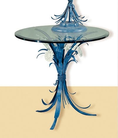 T.3600/3, Blue round table with glass top