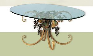 T.5190/4/T, Oval table with glass top, autumn decoration