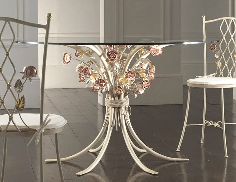 T.5470/6, Wrought iron table with glass top