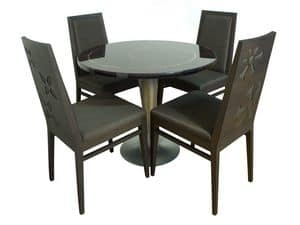TD01, Round table in steel, fiberglass top, copper inserts