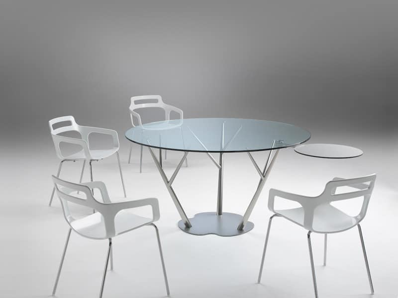 Tree 2, Dining table with glass top, with small valet applicable on every leg