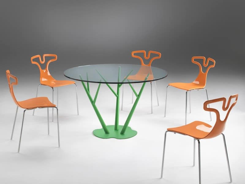 Tree, Dining table with round top in glass