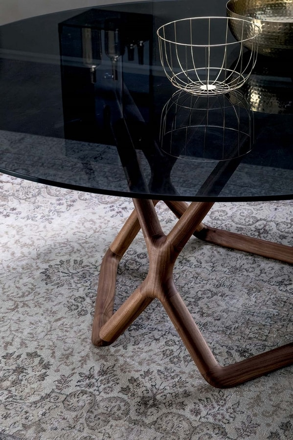YORK, Round table with solid walnut base and porcelain stoneware top
