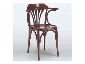 121 P, Chair with armrests in wood curved, for bars