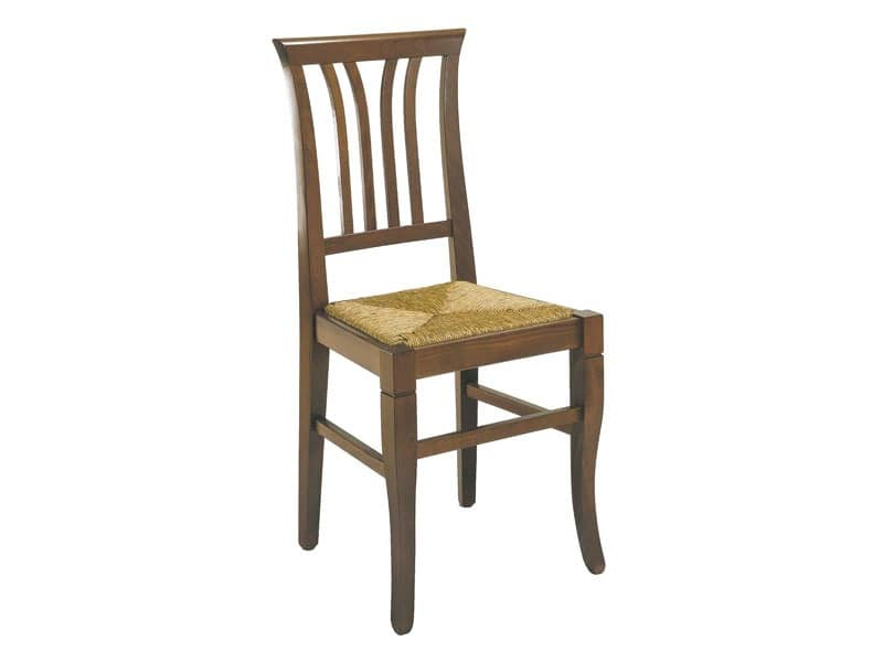 107, Rustic chair with vertical sleds, straw seat