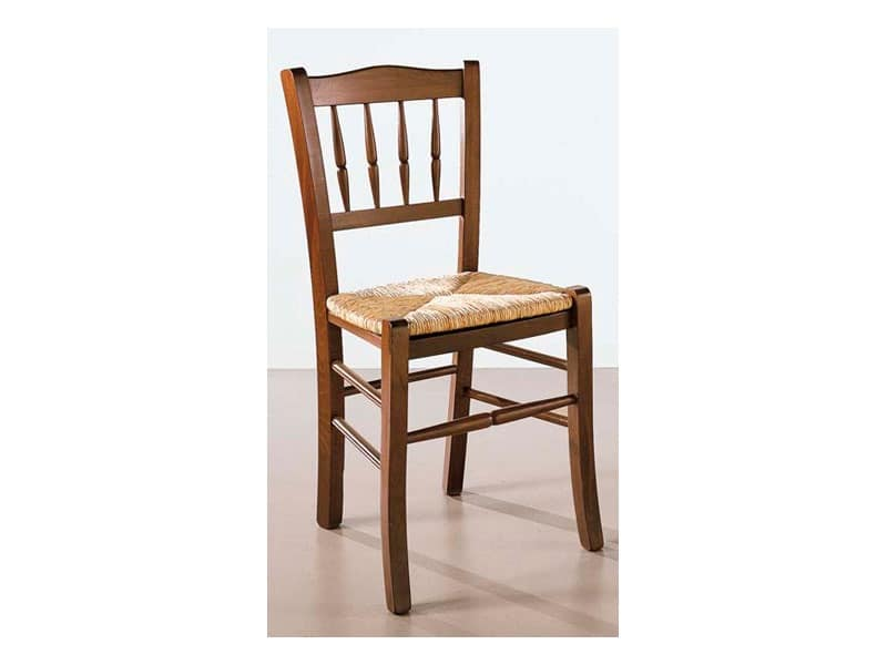122, Chair in wood and straw, worked back, for bars