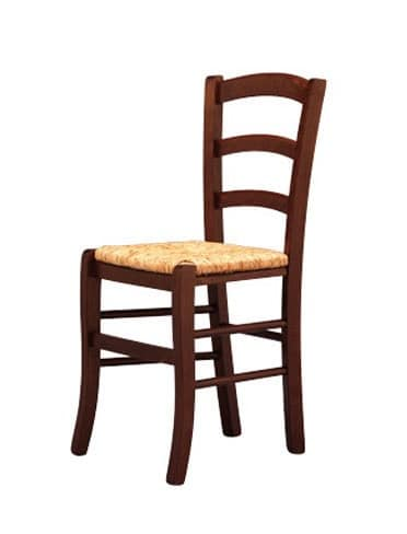207, Solid chair, in wood, with straw seat, for brewery pub