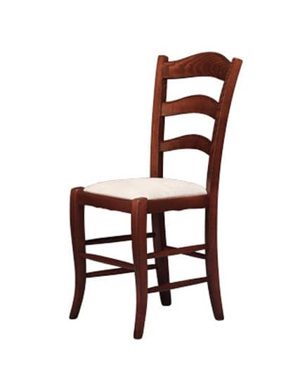 208, Chair with upholstered seat, made in rustic style