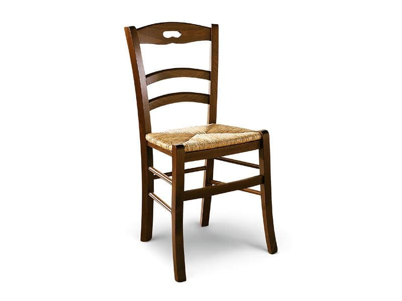 807, Wooden Chair With Straw Seat, Rustic Style