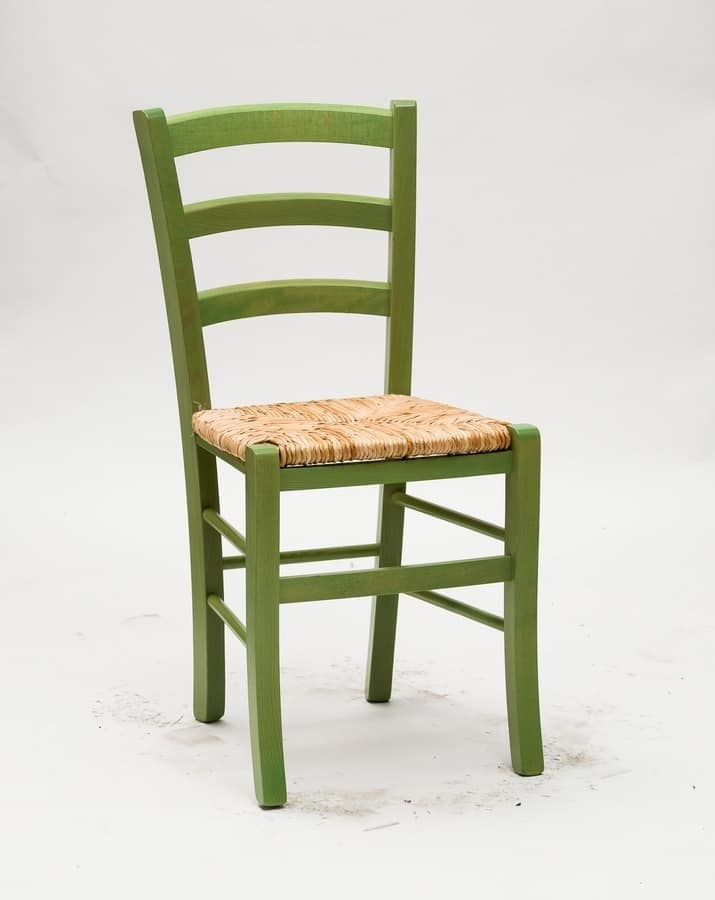 Art. 058 Nature, Rustic chair in tinted wood, seat in rice straw