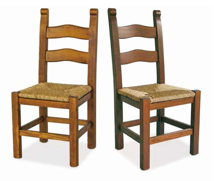 Bassano, Wooden chair with straw seat