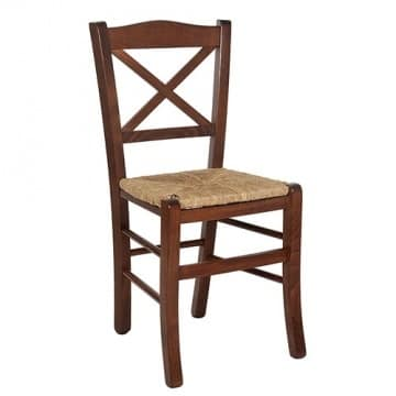Claudia, Chair with woven straw, for rustic furnishings