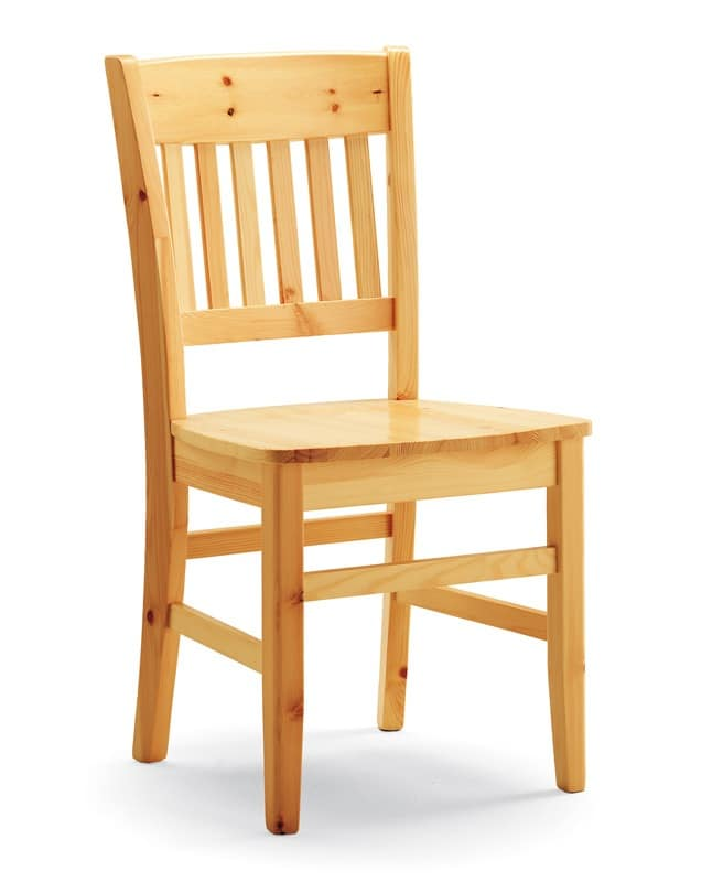 Dora, Rustic chair made entirely of pine, for private and contrac use