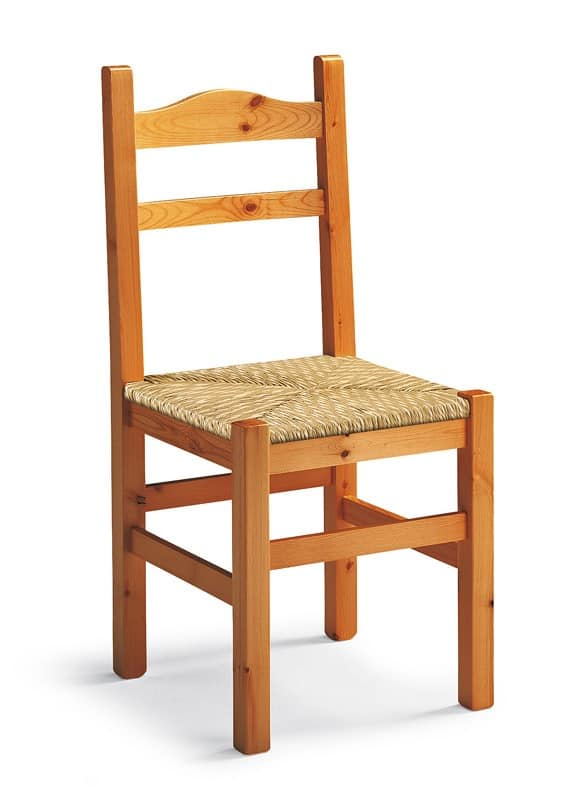 Mabel, Rustic chair in wood, woven straw seat