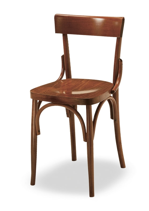 Milano, Sturdy chair in curved wood, for pubs and beer house