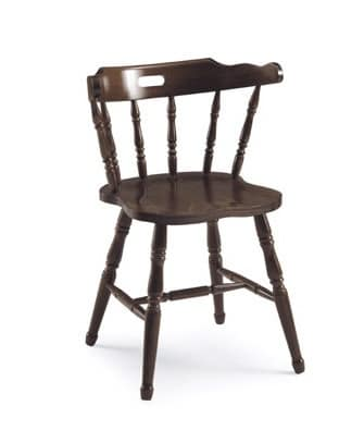 Old America, Rustic chair in wood, with backrest in vertical pattern
