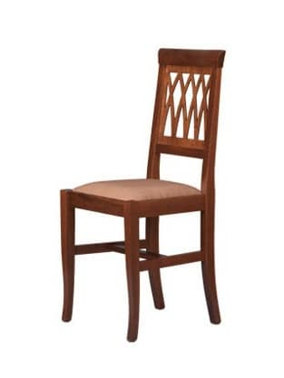 R01, Rustic chair in beech wood, upholstered seat