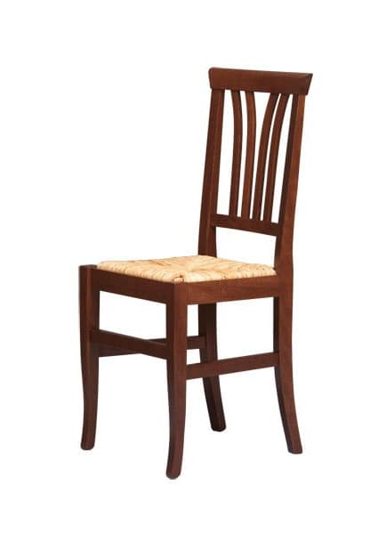R04, Rustic chair in beech wood, straw seat