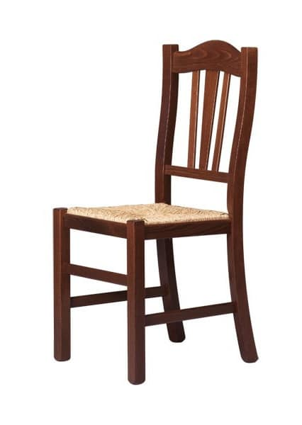R05, Chair in solid wood, rustic style, for contract use