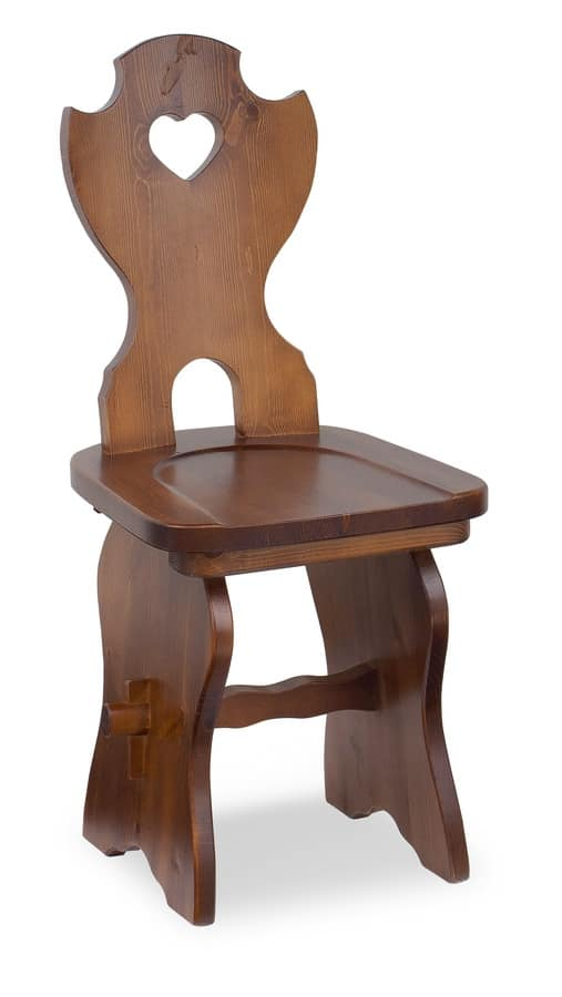 S/106 Fratino Chair, Wooden chair in solid pine, for mountain hotels
