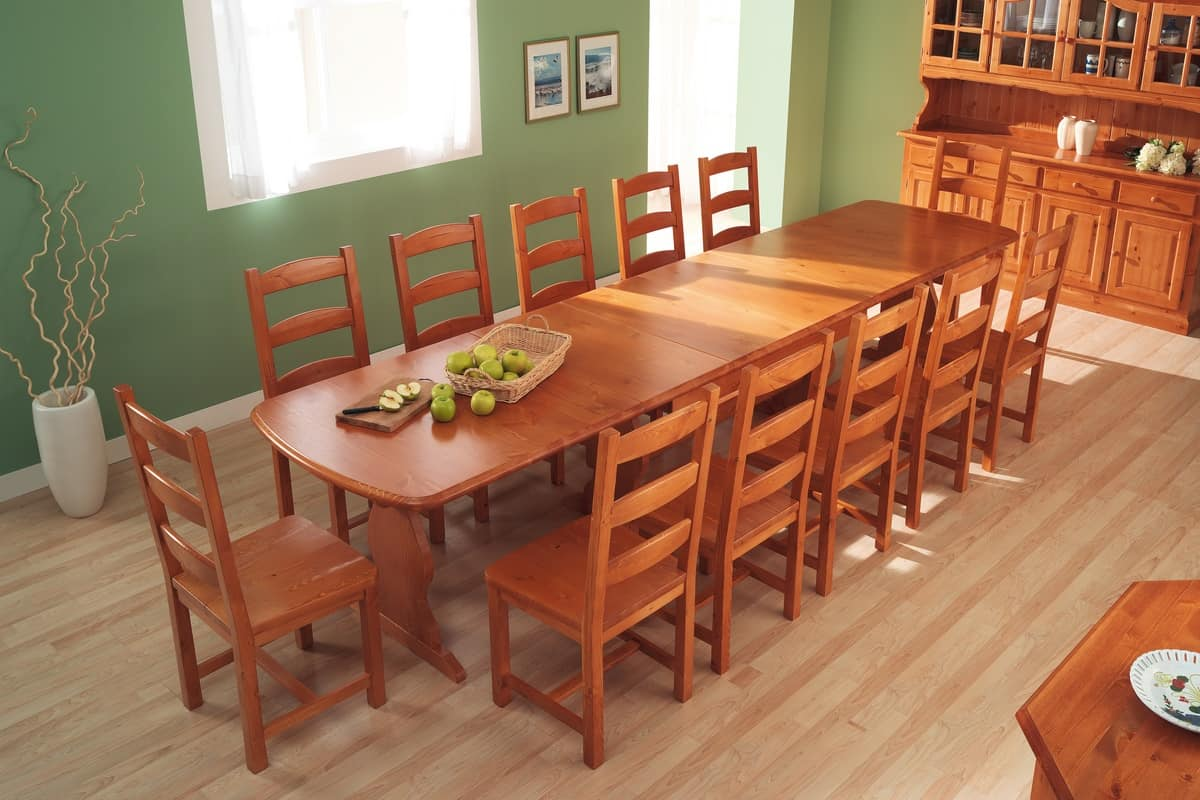 S/147 L Silvia chair, Rustic chair with horizontal slats, in solid pine