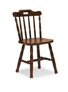 S/149 Country Chair, Rustic chair in pine, with vertical slats, for taverns