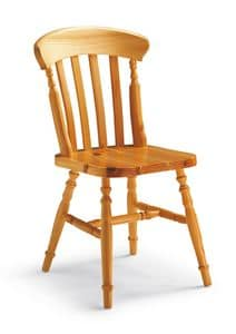 S/150 York Chair, Chair with vertical slats, in pine, in rustic style