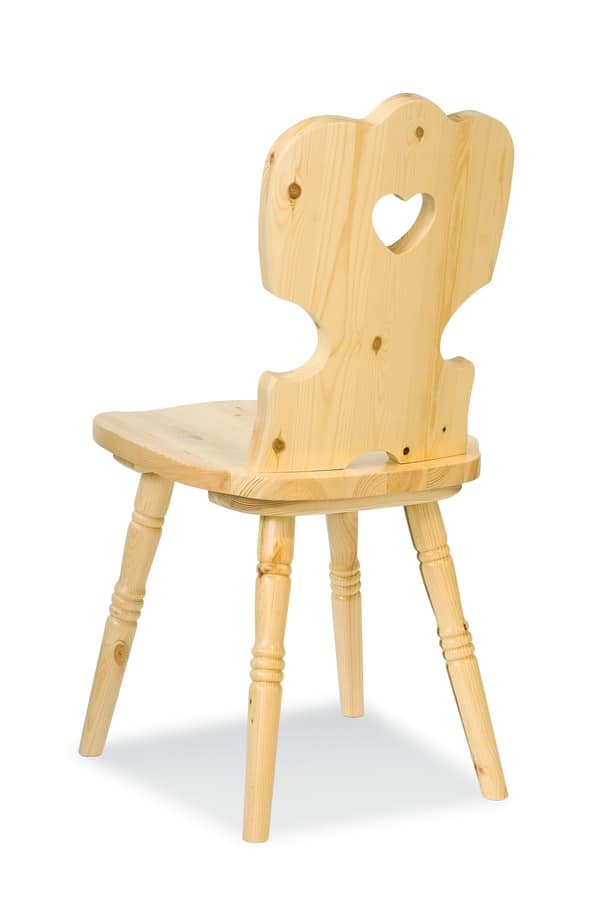 S/152 Iris Chair, Rustic chair in pine, with hole on the backrest