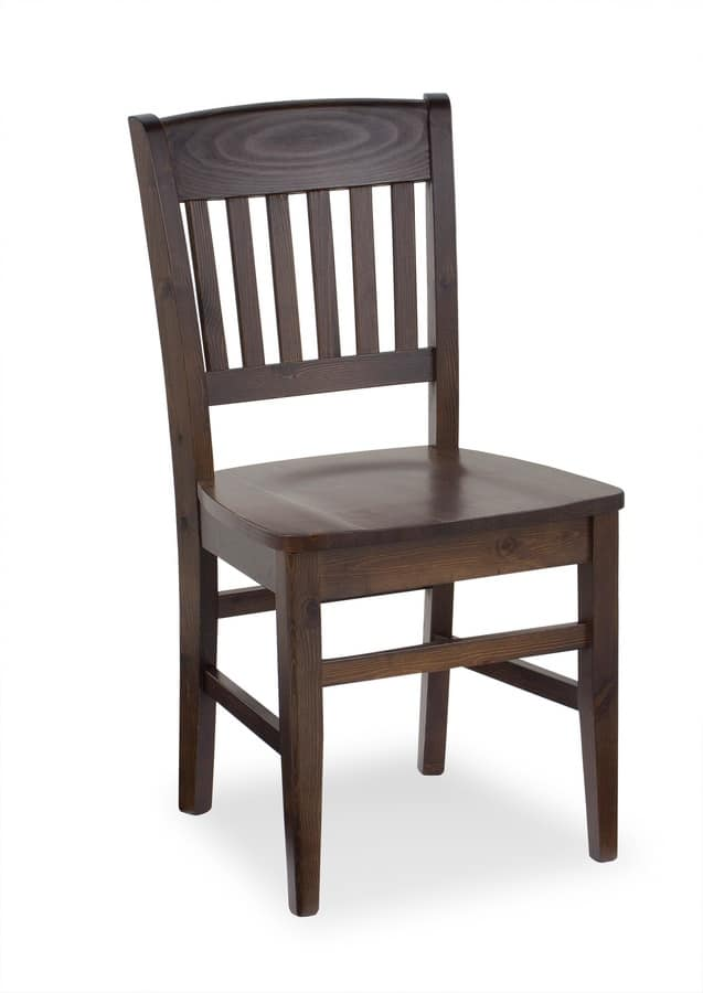 S/155 Veronica Chair, Rustic chair in wood, back with vertical pattern