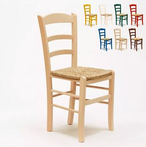 Stock 20 Dining chair wooden for kitchen pub Paesana SP00120PZ, Rustic chairs with straw seat