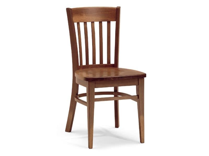 Zurigo, Chair entirely made of wood with rectangular backrest