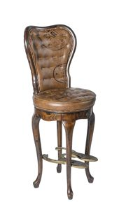 Art. 648, Country style swivel stool, in wood and leather