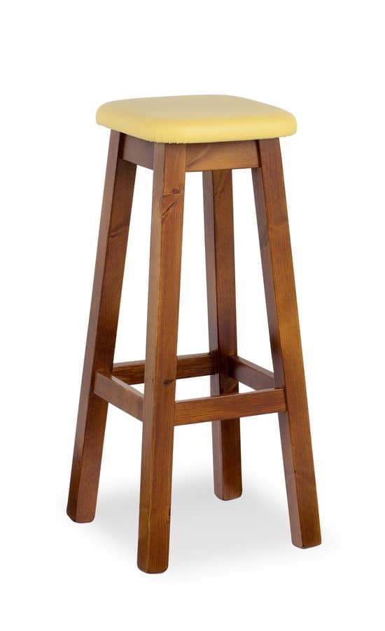 H/309 A High Square Stool, High stool in a rustic style, for taverns and bars