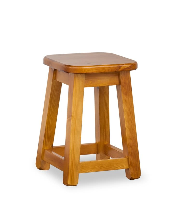 H/309 B Low Square Stool, Low stool in solid pine, for inns and sandwich bars