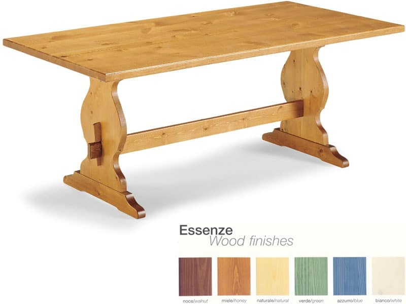 T/204, Rustic wooden table with footrest, for pubs