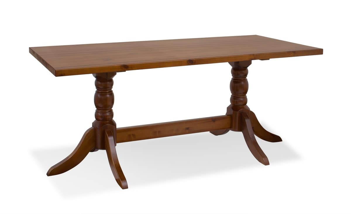 T/420double, Pine table with 2 turned columns, for dining rooms