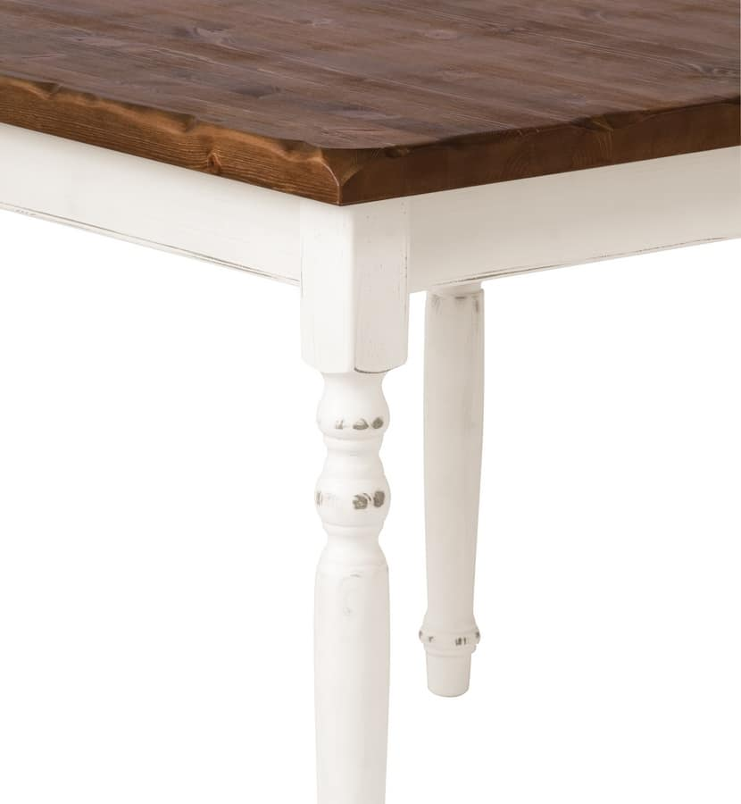 Table 4 legs 130x80, Rectangular table made of pine with walnut finishses